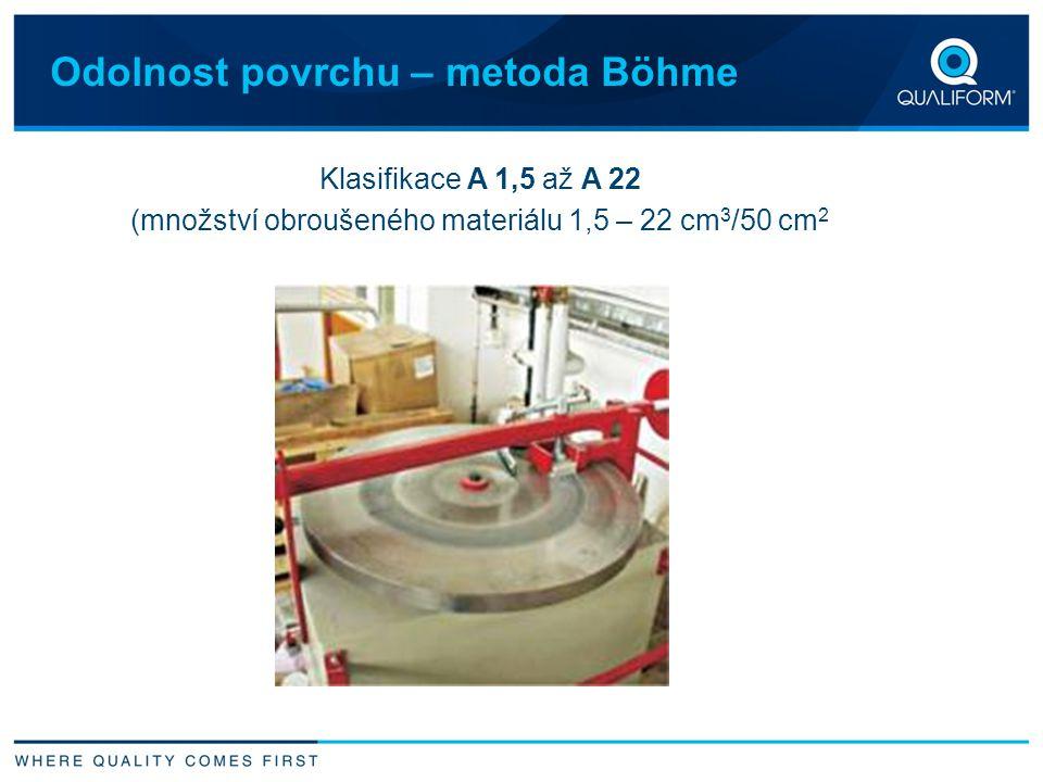 Odolnost povrchu – metoda Böhme Klasifikace A 1,5 až A 22 (množství obroušeného materiálu 1,5 – 22 cm 3 /50 cm 2