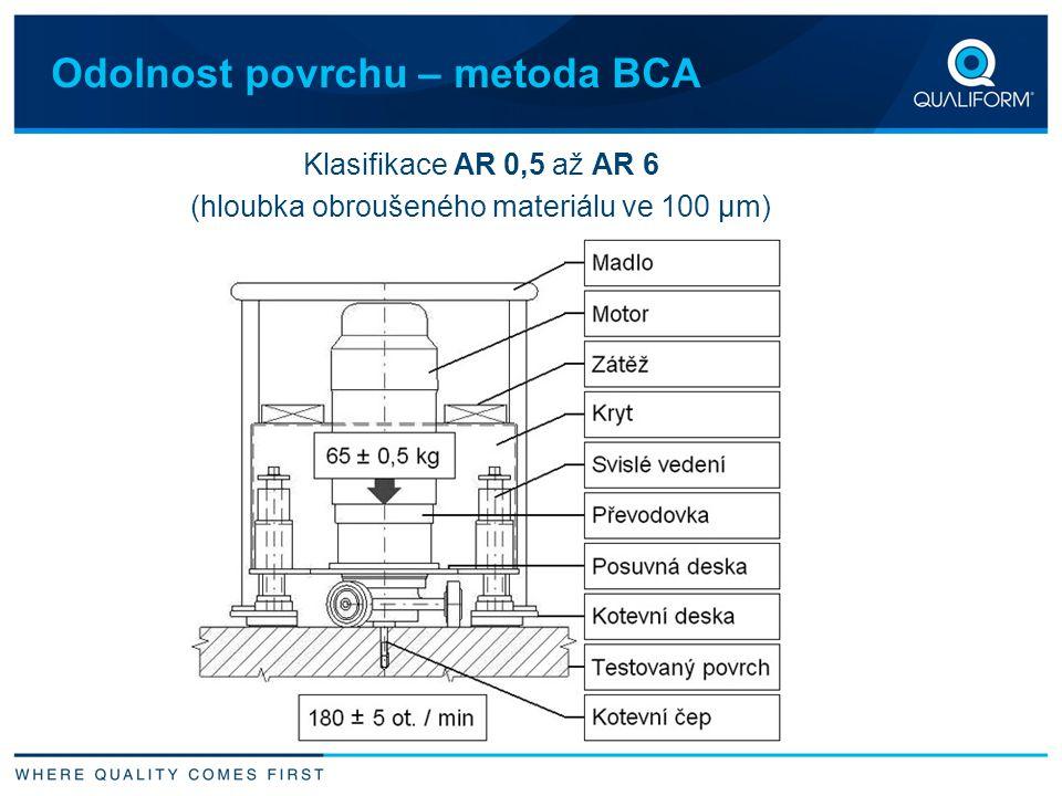 Odolnost povrchu – metoda BCA Klasifikace AR 0,5 až AR 6 (hloubka obroušeného materiálu ve 100 µm)
