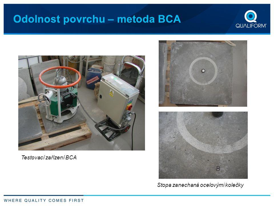 Odolnost povrchu – metoda BCA Stopa zanechaná ocelovými kolečky Testovací zařízení BCA