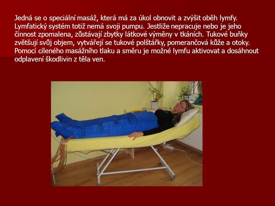 Jedná se o speciální masáž, která má za úkol obnovit a zvýšit oběh lymfy. Lymfatický systém totiž nemá svoji pumpu. Jestliže nepracuje nebo je jeho či