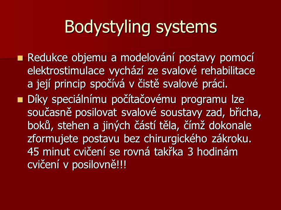 STIMULAČNÍ PROUD DOKÁŽE : STIMULAČNÍ PROUD DOKÁŽE : Cílenou redukci objemu, odstranění celulitidy, modelování postavy Cílenou redukci objemu, odstranění celulitidy, modelování postavy Zvýraznění a zpevnění svalů (tonizace břišních svalů - poporodní ošetření) Zvýraznění a zpevnění svalů (tonizace břišních svalů - poporodní ošetření) Hloubkové zpevnění svalů Hloubkové zpevnění svalů Masáže – uvolnění zatuhlých svalů Masáže – uvolnění zatuhlých svalů Svalovou rehabilitaci Svalovou rehabilitaci Obličejový lifting – odstranění vrásek a ochablého obličeje – zvláště dvojité brady Obličejový lifting – odstranění vrásek a ochablého obličeje – zvláště dvojité brady Aktivuje imunitní systém – zvýšeným prokrvením se povzbudí krevní oběh.