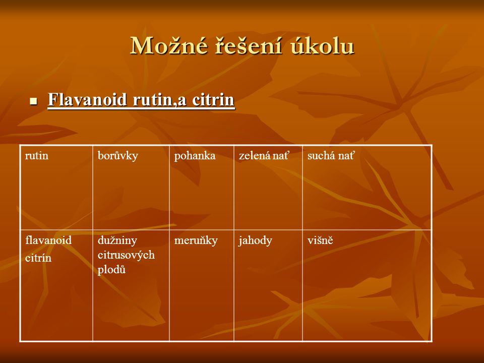 Možné řešení úkolu Flavanoid rutin,a citrin Flavanoid rutin,a citrin rutinborůvkypohankazelená naťsuchá nať flavanoid citrín dužniny citrusových plodů