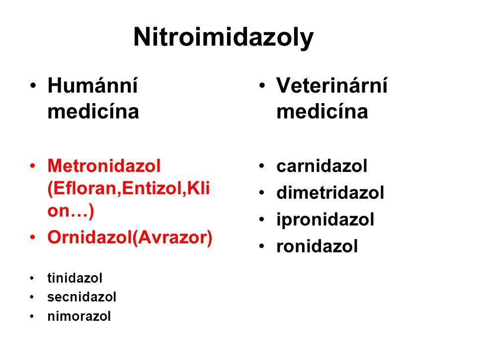 Nitroimidazoly Humánní medicína Metronidazol (Efloran,Entizol,Kli on…) Ornidazol(Avrazor) tinidazol secnidazol nimorazol Veterinární medicína carnidaz