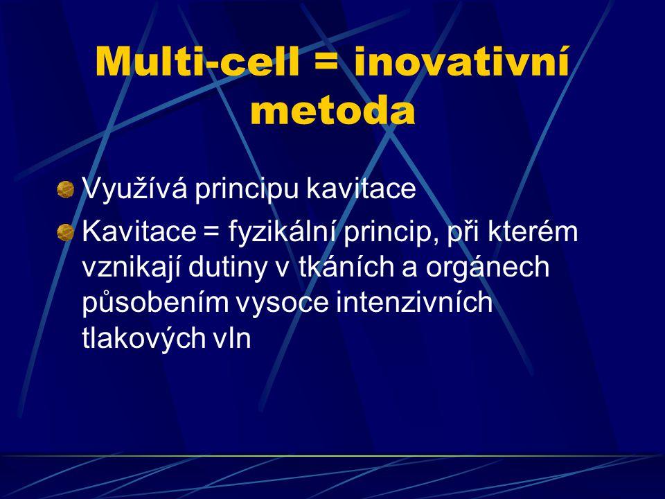 Multi-cell = inovativní metoda Využívá principu kavitace Kavitace = fyzikální princip, při kterém vznikají dutiny v tkáních a orgánech působením vysoce intenzivních tlakových vln