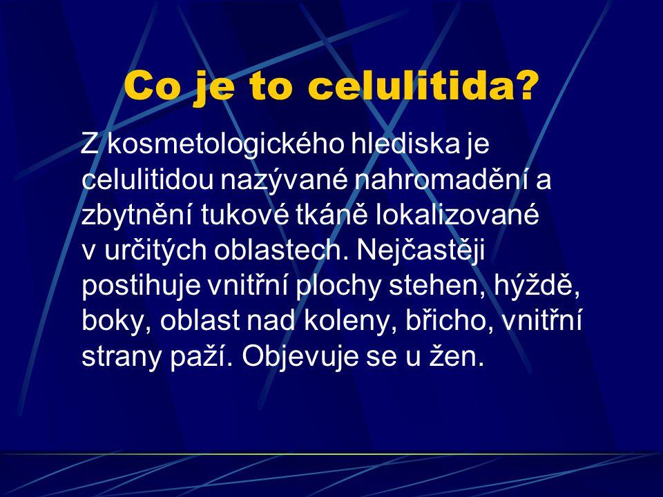 Co je to celulitida? Z kosmetologického hlediska je celulitidou nazývané nahromadění a zbytnění tukové tkáně lokalizované v určitých oblastech. Nejčas