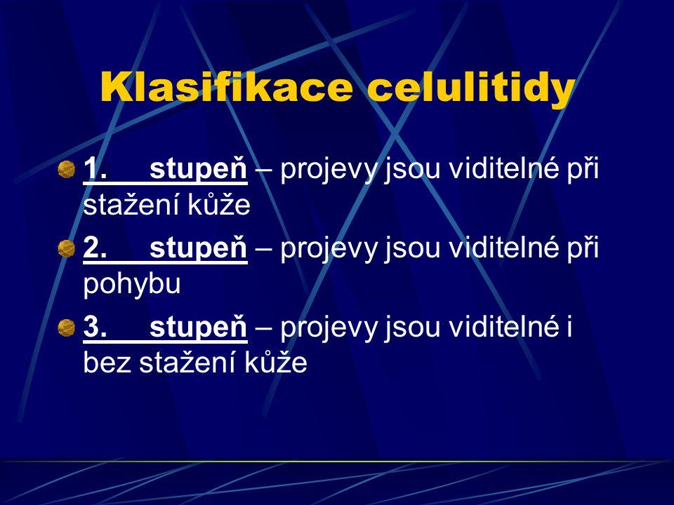 Klasifikace celulitidy 1. stupeň – projevy jsou viditelné při stažení kůže 2. stupeň – projevy jsou viditelné při pohybu 3. stupeň – projevy jsou vidi