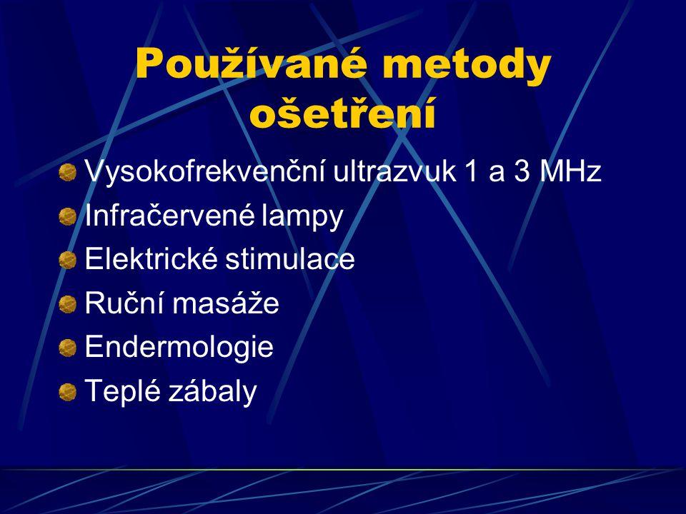 Používané metody ošetření Vysokofrekvenční ultrazvuk 1 a 3 MHz Infračervené lampy Elektrické stimulace Ruční masáže Endermologie Teplé zábaly