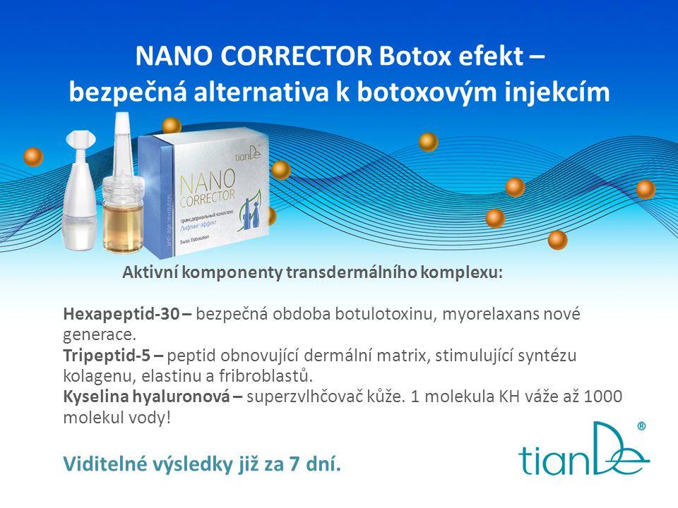 NANO CORRECTOR Botox efekt – bezpečná alternativa k botoxovým injekcím Aktivní komponenty transdermálního komplexu: Hexapeptid-30 – bezpečná obdoba bo