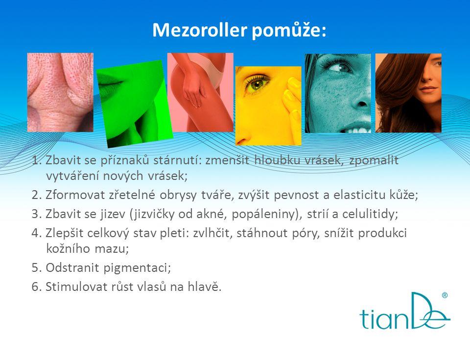 Mezoroller pomůže: 1. Zbavit se příznaků stárnutí: zmenšit hloubku vrásek, zpomalit vytváření nových vrásek; 2. Zformovat zřetelné obrysy tváře, zvýši