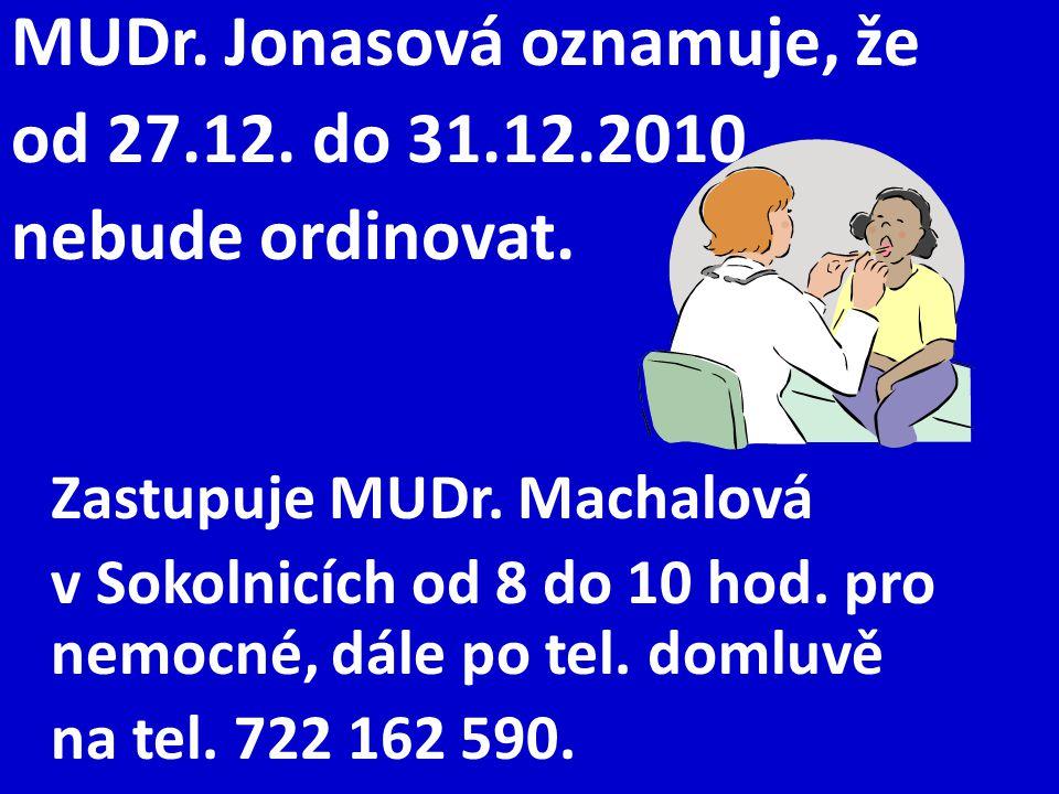 MUDr. Jonasová oznamuje, že od 27.12. do 31.12.2010 nebude ordinovat.