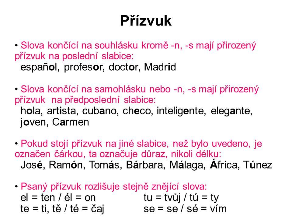 Přízvuk Slova končící na souhlásku kromě -n, -s mají přirozený přízvuk na poslední slabice: español, profesor, doctor, Madrid Slova končící na samohlá