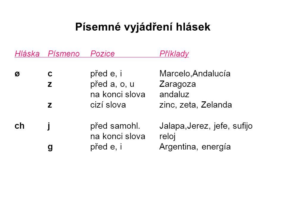 Písemné vyjádření hlásek HláskaPísmenoPozicePříklady øcpřed e, iMarcelo,Andalucía zpřed a, o, uZaragoza na konci slovaandaluz zcizí slovazinc, zeta, Z