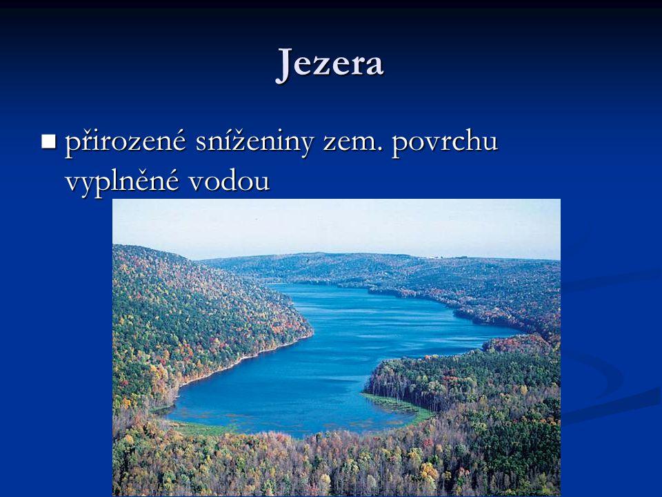 Jezera přirozené sníženiny zem. povrchu vyplněné vodou přirozené sníženiny zem. povrchu vyplněné vodou