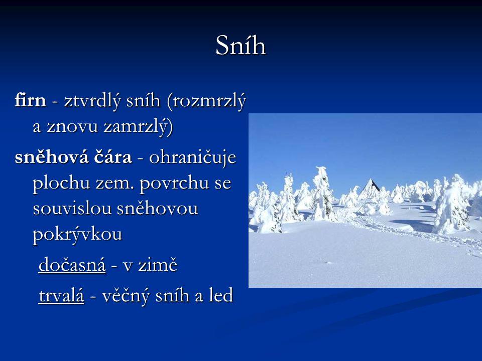 Sníh firn - ztvrdlý sníh (rozmrzlý a znovu zamrzlý) sněhová čára - ohraničuje plochu zem. povrchu se souvislou sněhovou pokrývkou dočasná - v zimě trv