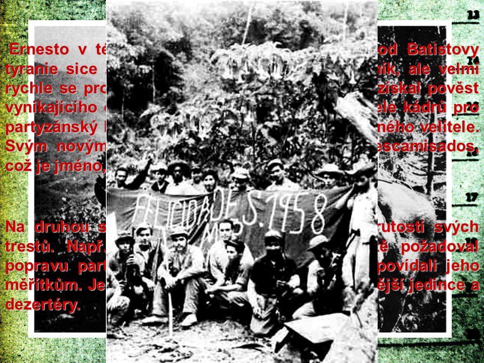 Ernesto v této výpravě za osvobození Kuby od Batistovy tyranie sice začínal jako lékař a řadový bojovník, ale velmi rychle se propracoval na přední mí