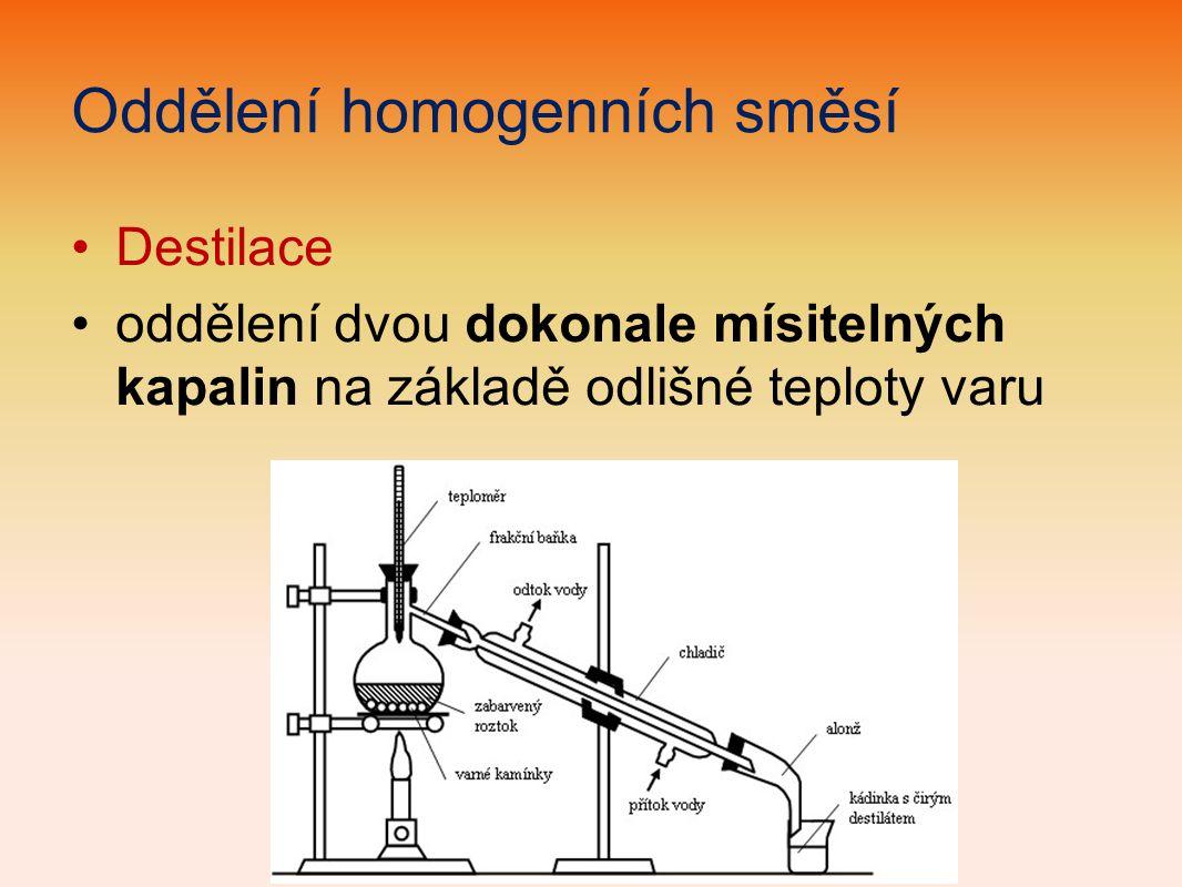 Oddělení homogenních směsí Destilace oddělení dvou dokonale mísitelných kapalin na základě odlišné teploty varu