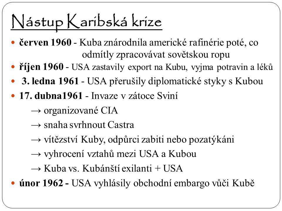 Nástup Karibská krize červen 1960 - Kuba znárodnila americké rafinérie poté, co odmítly zpracovávat sovětskou ropu říjen 1960 - USA zastavily export n