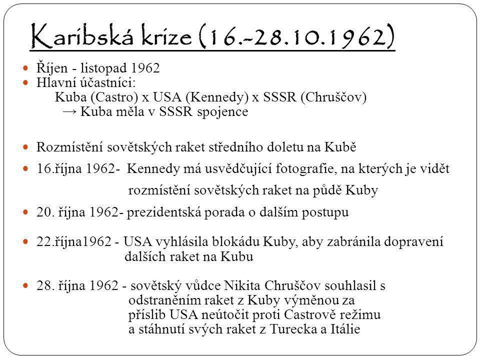 Karibská krize (16.-28.10.1962) Říjen - listopad 1962 Hlavní účastníci: Kuba (Castro) x USA (Kennedy) x SSSR (Chruščov) → Kuba měla v SSSR spojence Ro