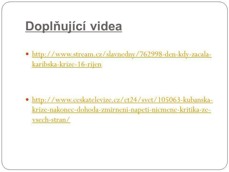 Doplňující videa http://www.stream.cz/slavnedny/762998-den-kdy-zacala- karibska-krize-16-rijen http://www.stream.cz/slavnedny/762998-den-kdy-zacala- k