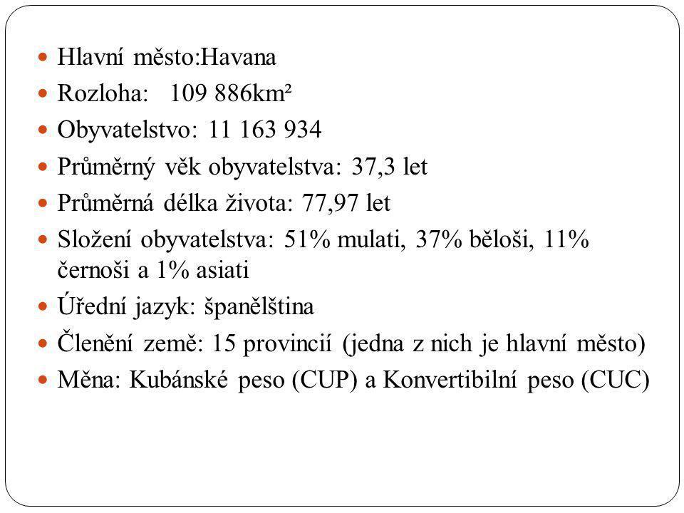 Hlavní město:Havana Rozloha: 109 886km² Obyvatelstvo: 11 163 934 Průměrný věk obyvatelstva: 37,3 let Průměrná délka života: 77,97 let Složení obyvatel