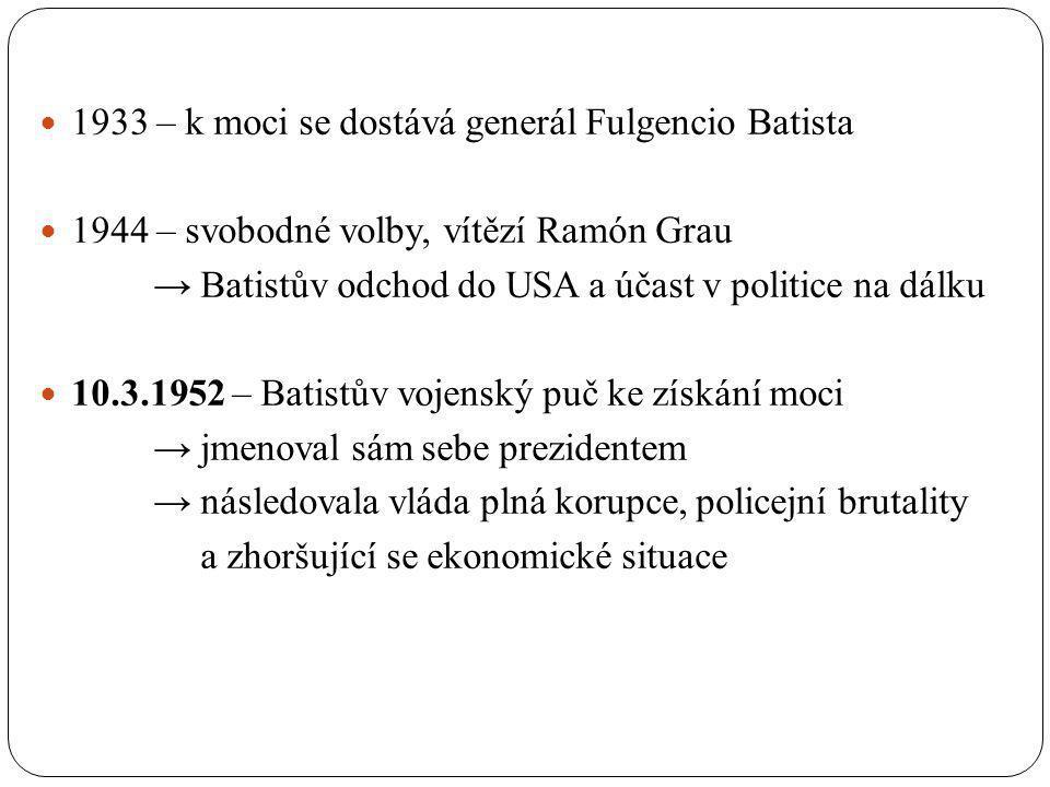 1933 – k moci se dostává generál Fulgencio Batista 1944 – svobodné volby, vítězí Ramón Grau → Batistův odchod do USA a účast v politice na dálku 10.3.