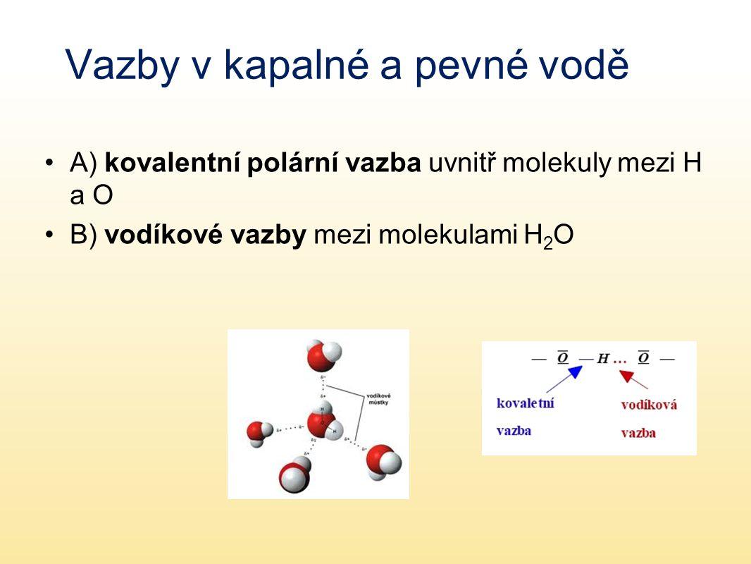 Vazby v kapalné a pevné vodě A) kovalentní polární vazba uvnitř molekuly mezi H a O B) vodíkové vazby mezi molekulami H 2 O