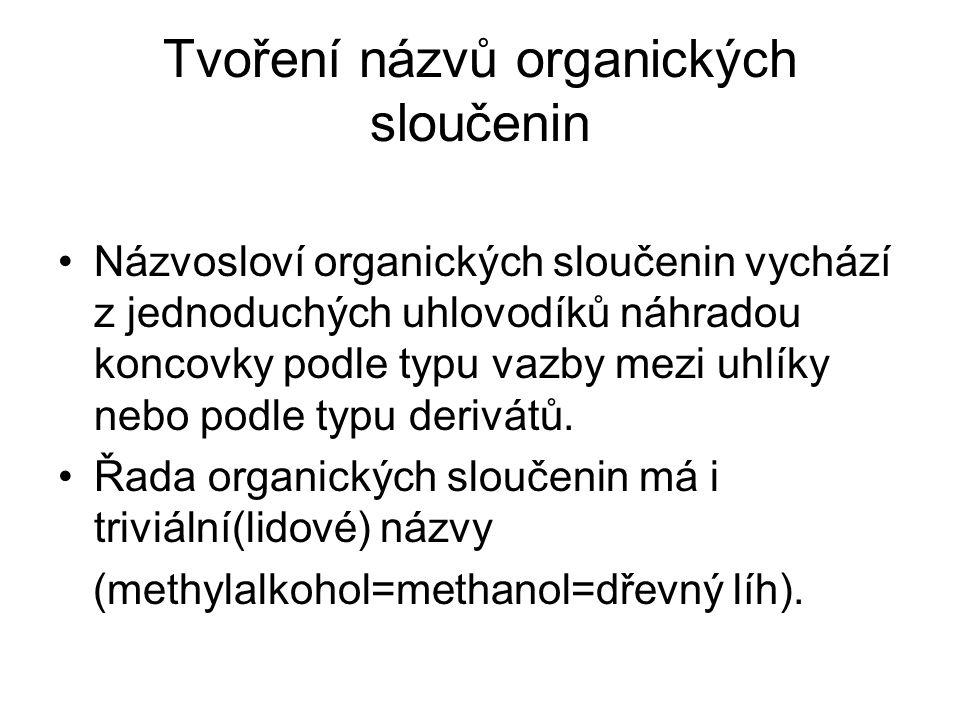 Tvoření názvů organických sloučenin Názvosloví organických sloučenin vychází z jednoduchých uhlovodíků náhradou koncovky podle typu vazby mezi uhlíky