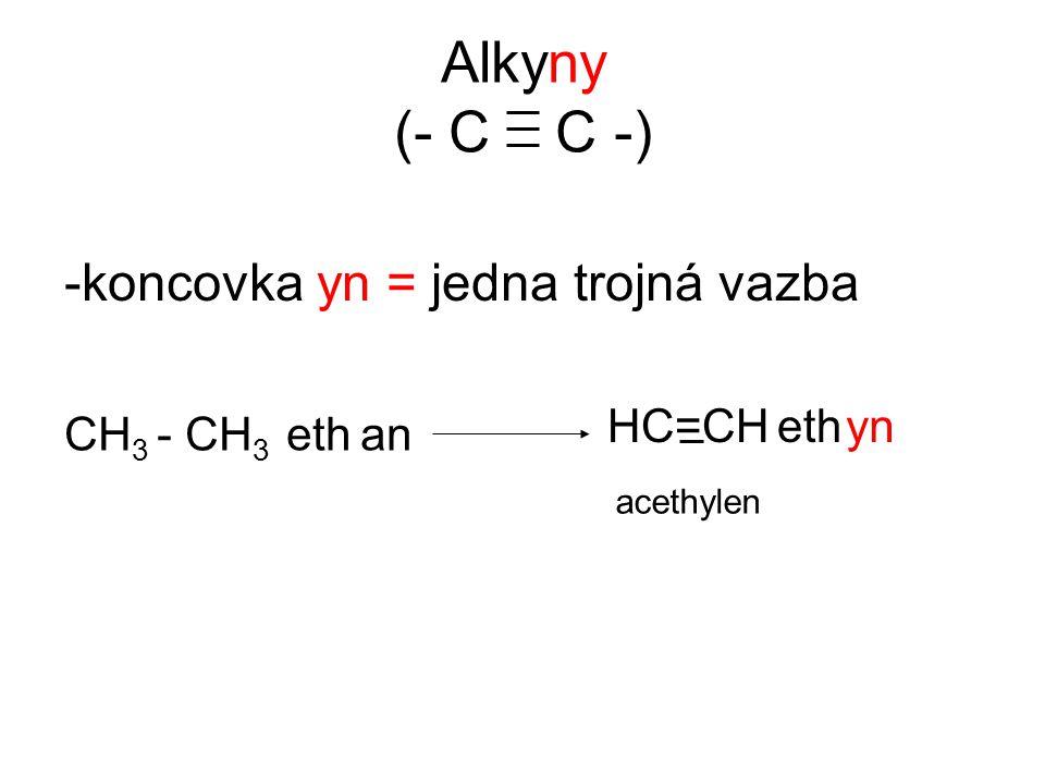 Alkyny (- C C -) -koncovka yn = jedna trojná vazba CH 3 - CH 3 eth HC=CH ethyn an acethylen