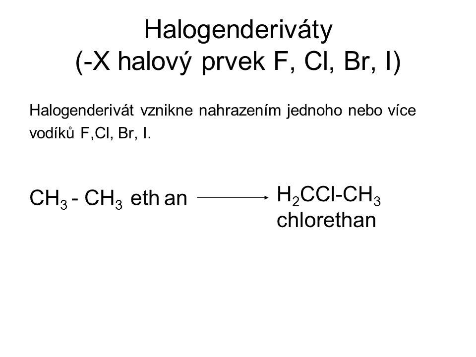 Halogenderiváty (-X halový prvek F, Cl, Br, I) Halogenderivát vznikne nahrazením jednoho nebo více vodíků F,Cl, Br, I. CH 3 - CH 3 eth H 2 CCl-CH 3 ch