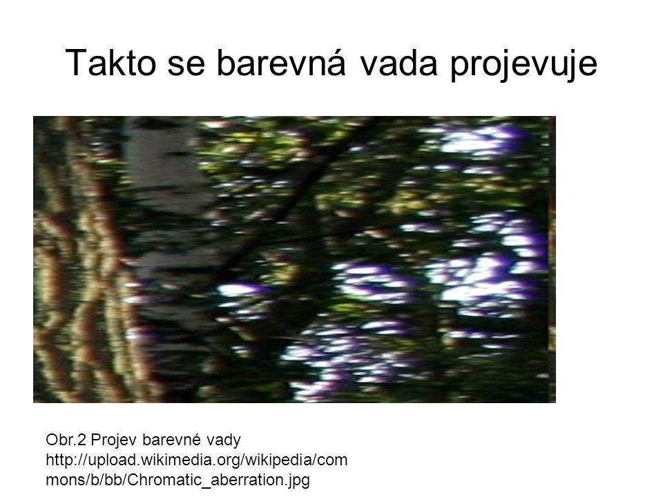 Takto se barevná vada projevuje Obr.2 Projev barevné vady http://upload.wikimedia.org/wikipedia/com mons/b/bb/Chromatic_aberration.jpg