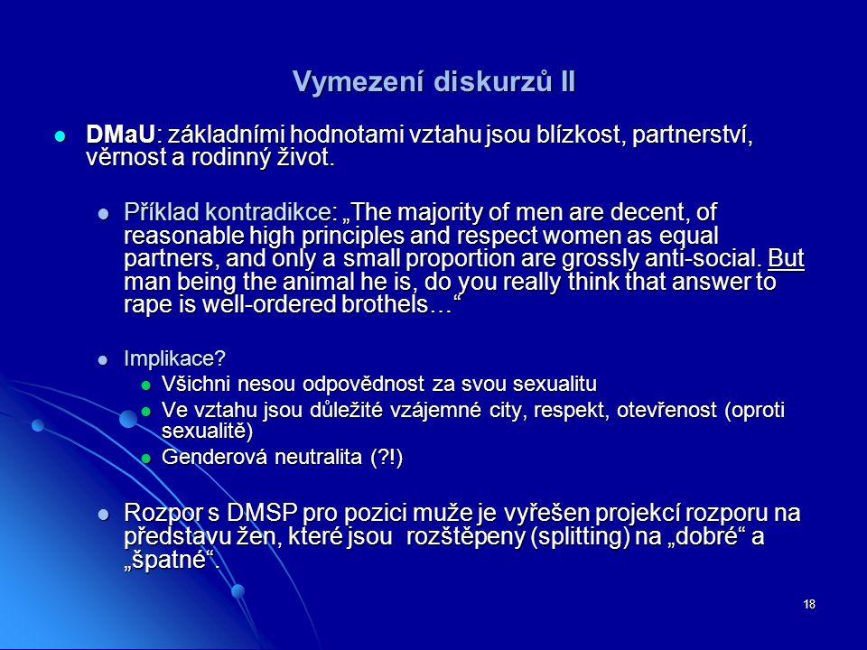 18 Vymezení diskurzů II DMaU: základními hodnotami vztahu jsou blízkost, partnerství, věrnost a rodinný život. DMaU: základními hodnotami vztahu jsou