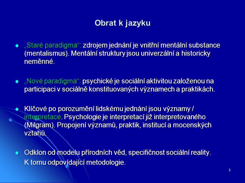 """3 Obrat k jazyku """"Staré paradigma"""": zdrojem jednání je vnitřní mentální substance (mentalismus). Mentální struktury jsou univerzální a historicky nemě"""