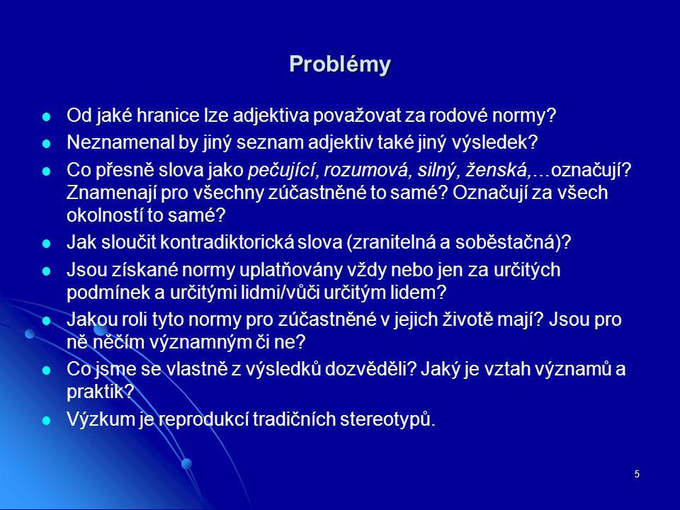 5 Problémy Od jaké hranice lze adjektiva považovat za rodové normy.