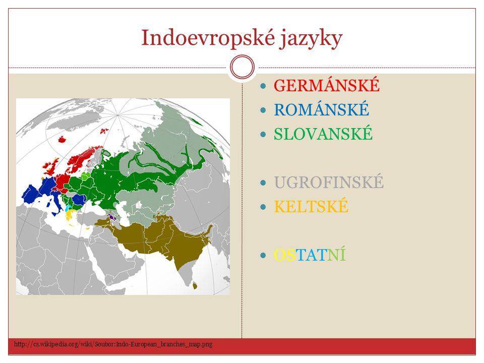 Indoevropské jazyky GERMÁNSKÉ ROMÁNSKÉ SLOVANSKÉ UGROFINSKÉ KELTSKÉ OSTATNÍ http://cs.wikipedia.org/wiki/Soubor:Indo-European_branches_map.png