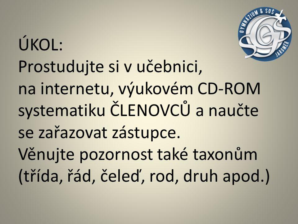 Pro připomenutí – -systém, taxonomie kmene ČLENOVCI KMEN: ČLENOVCI 1.