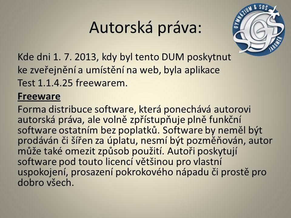 Autorská práva: Systém je použit ze středoškolských učebnic jako např.