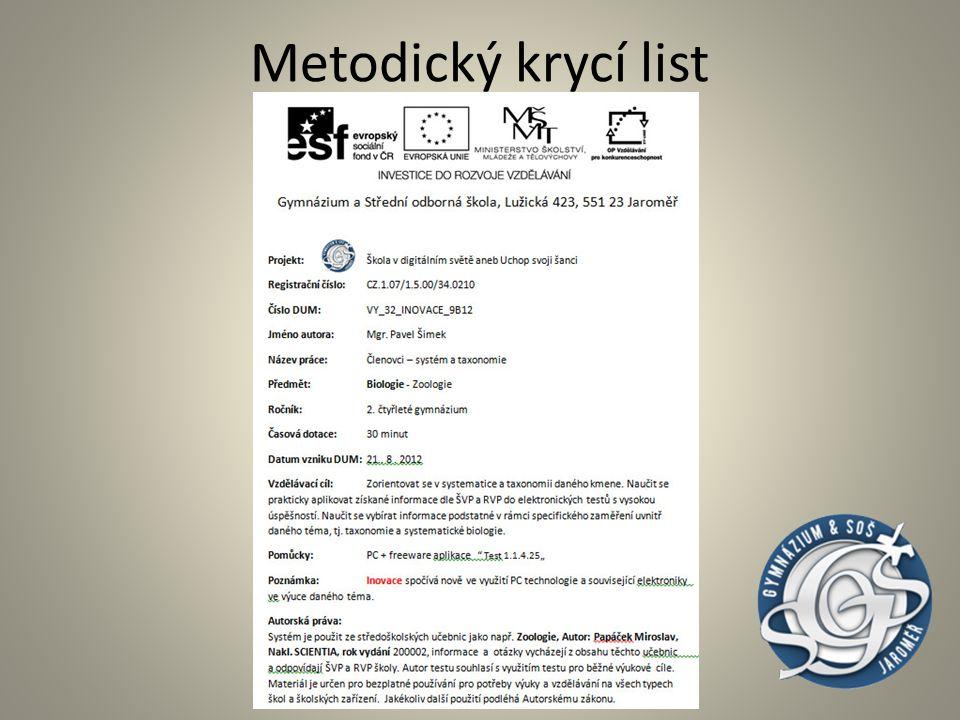 Metodický krycí list