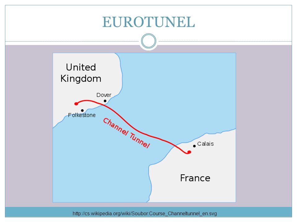 EUROTUNEL Tunel vede z francouzského města Calais do britského města Dover.