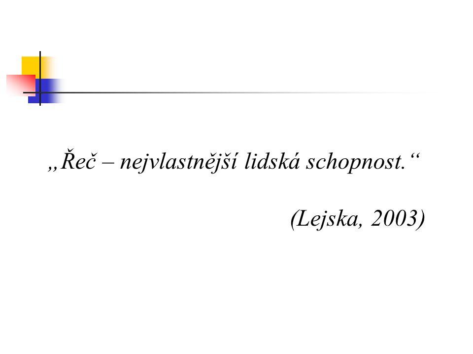 """""""Řeč – nejvlastnější lidská schopnost."""" (Lejska, 2003)"""