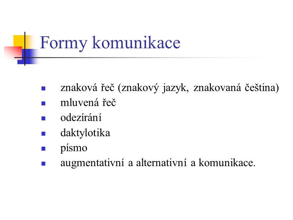 Formy komunikace znaková řeč (znakový jazyk, znakovaná čeština) mluvená řeč odezírání daktylotika písmo augmentativní a alternativní a komunikace.
