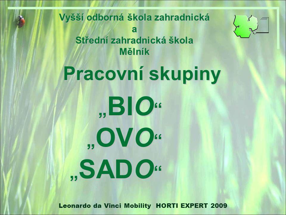 "Vyšší odborná škola zahradnická a Střední zahradnická škola Mělník Pracovní skupiny ""BIO ""OVO ""SADO Leonardo da Vinci Mobility HORTI EXPERT 2009"