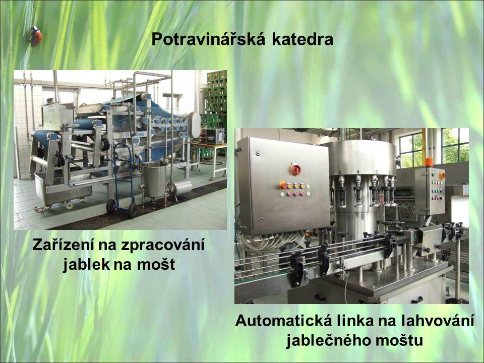 Potravinářská katedra Zařízení na zpracování jablek na mošt Automatická linka na lahvování jablečného moštu