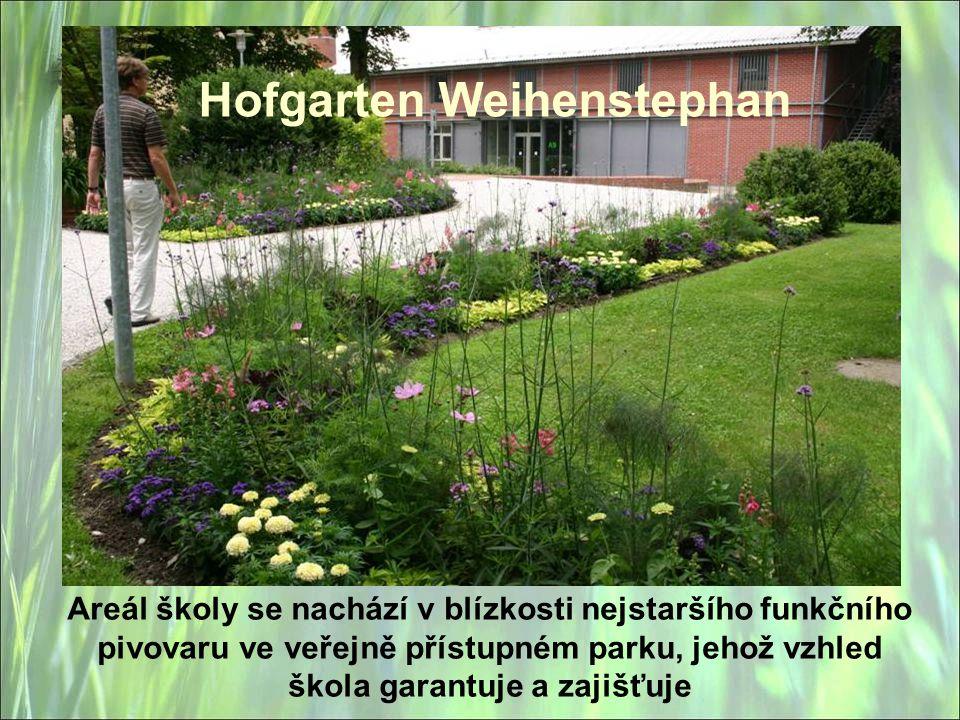 Hofgarten Weihenstephan Areál školy se nachází v blízkosti nejstaršího funkčního pivovaru ve veřejně přístupném parku, jehož vzhled škola garantuje a zajišťuje