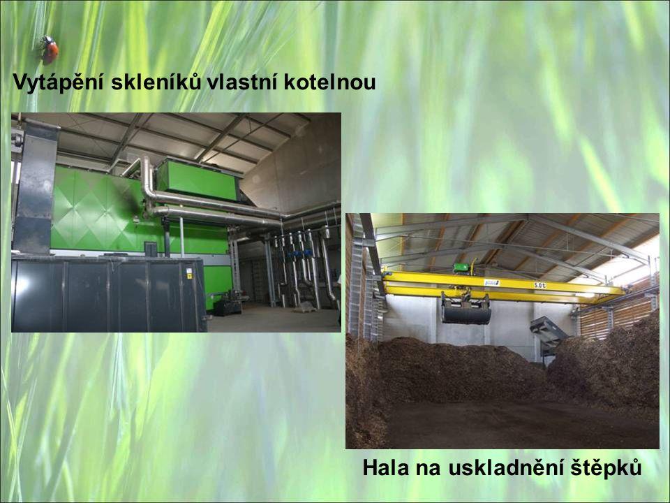 Vytápění skleníků vlastní kotelnou Hala na uskladnění štěpků