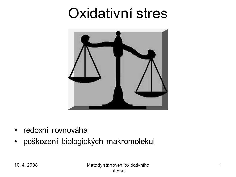 10. 4. 2008Metody stanovení oxidativního stresu 1 Oxidativní stres redoxní rovnováha poškození biologických makromolekul