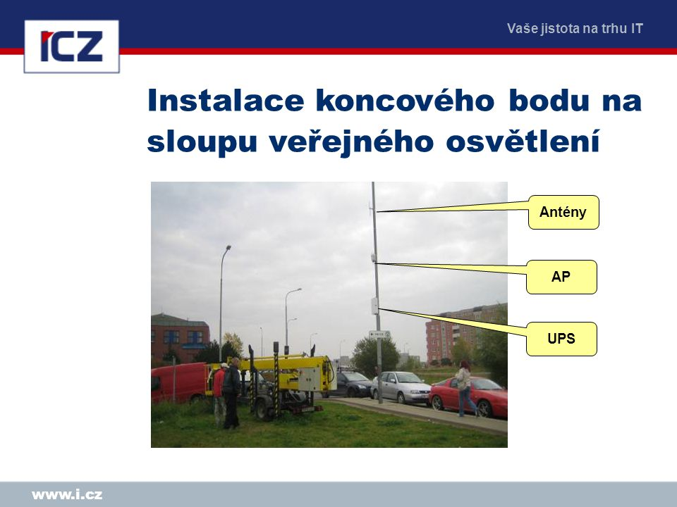 Vaše jistota na trhu IT www.i.cz Instalace koncového bodu na sloupu veřejného osvětlení UPS AP Antény
