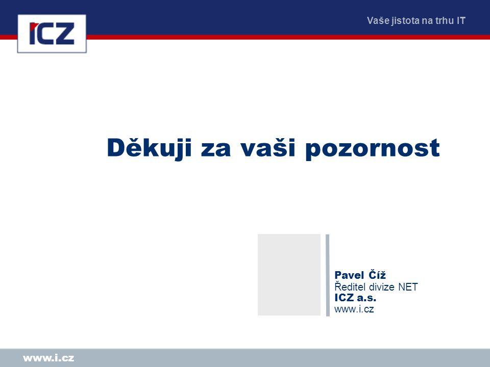 Vaše jistota na trhu IT www.i.cz Děkuji za vaši pozornost Pavel Číž Ředitel divize NET ICZ a.s.