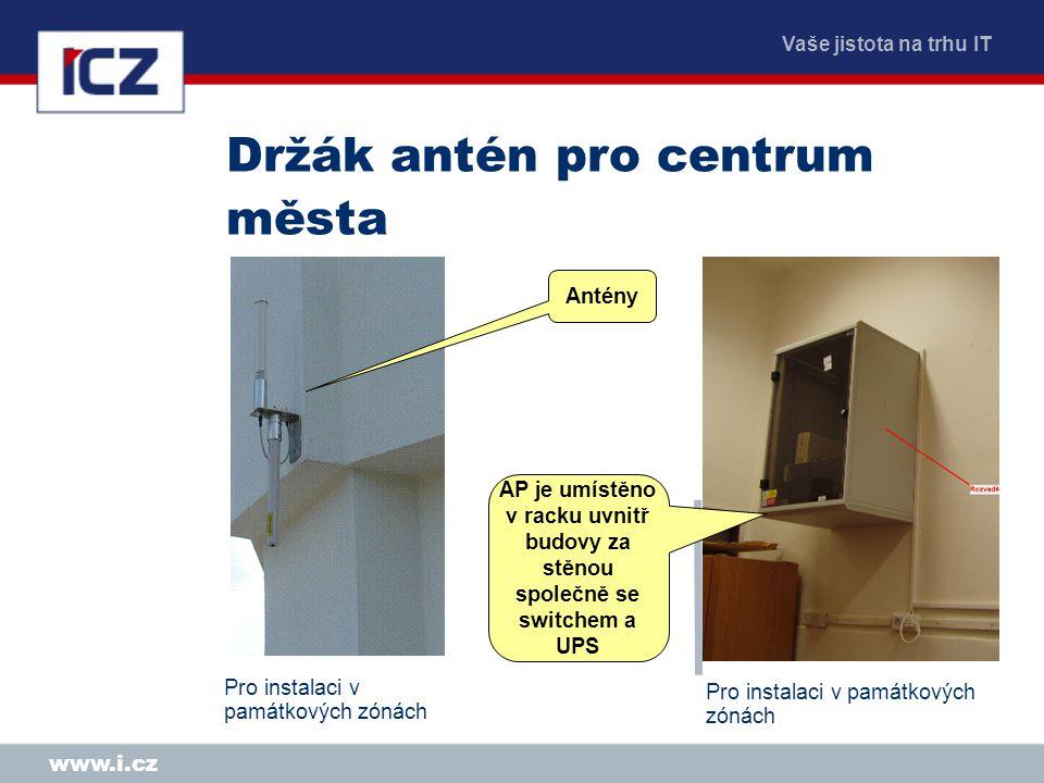 Vaše jistota na trhu IT www.i.cz Držák antén pro centrum města Pro instalaci v památkových zónách Antény AP je umístěno v racku uvnitř budovy za stěnou společně se switchem a UPS Pro instalaci v památkových zónách
