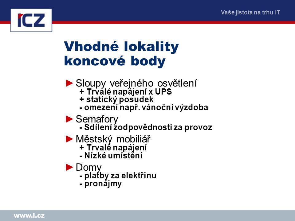 Vaše jistota na trhu IT www.i.cz Vhodné lokality koncové body ►Sloupy veřejného osvětlení + Trvalé napájení x UPS + statický posudek - omezení např.