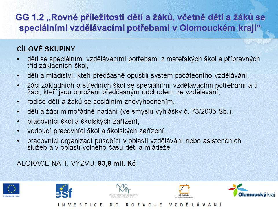 """GG 1.2 """"Rovné příležitosti dětí a žáků, včetně dětí a žáků se speciálními vzdělávacími potřebami v Olomouckém kraji"""" CÍLOVÉ SKUPINY děti se speciálním"""